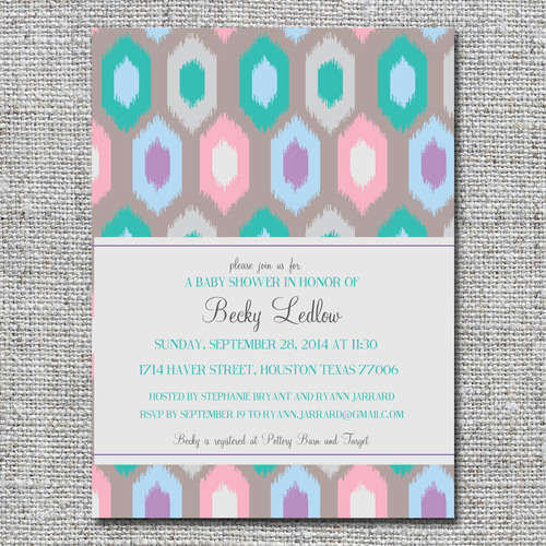 Baby birth announcements and baby shower invitations nine0nine ikat pink purple and teal baby shower invitationg filmwisefo