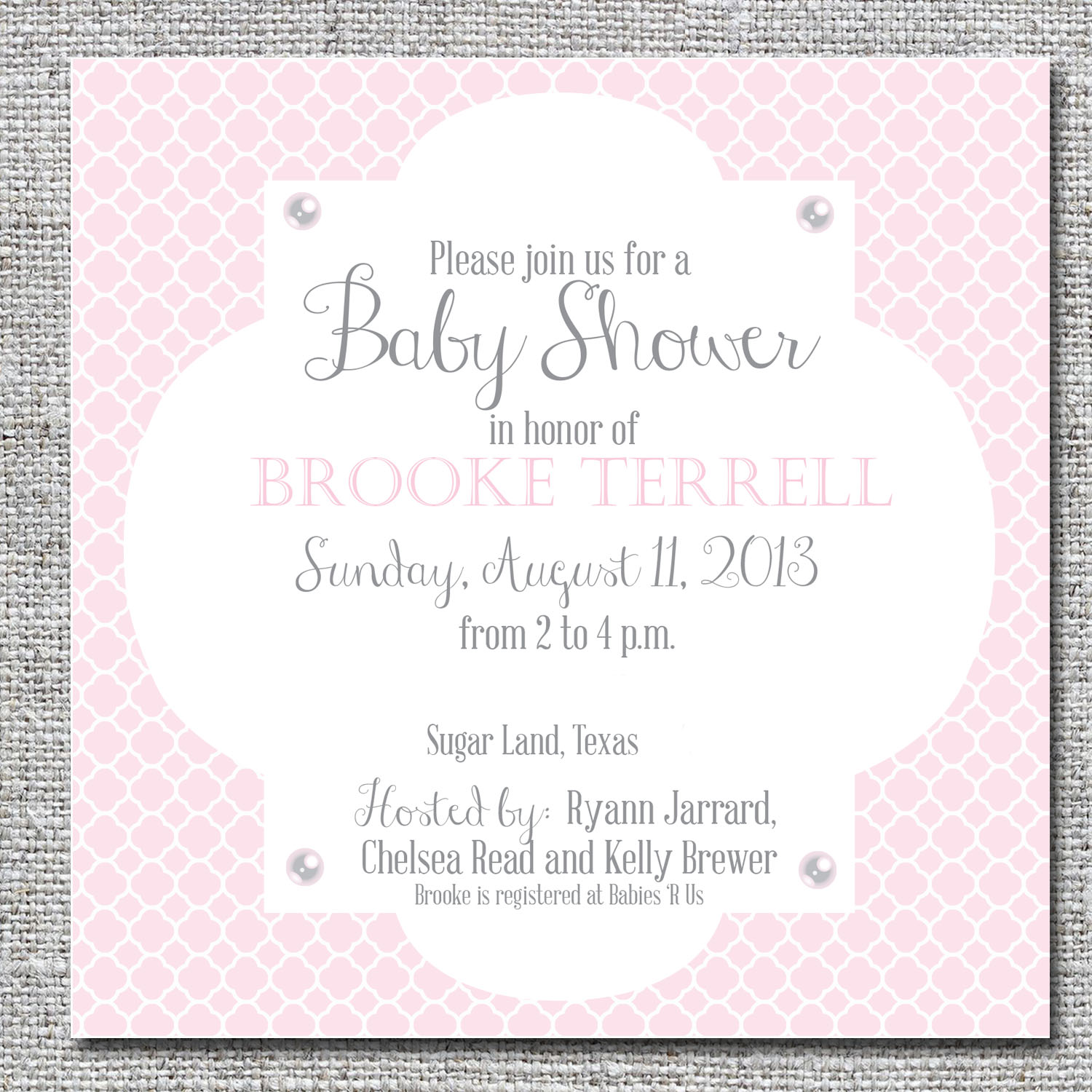 Pink and pearl quatrefoil baby shower invitation nine0nine pink and pearl quatrefoil baby shower invitation filmwisefo