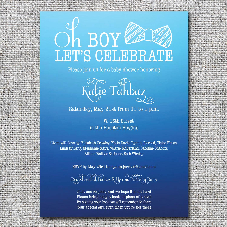 Bow tie baby shower invitation nine0nine creative custom invitations bow tie baby shower invitation filmwisefo