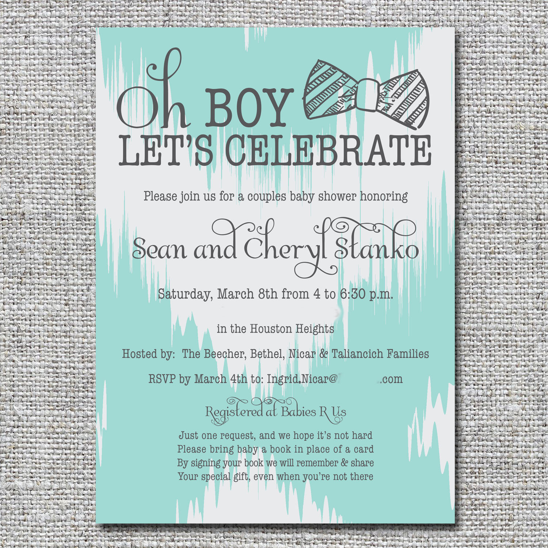 Bow tie baby shower invitation — nine0nine creative   custom invitations