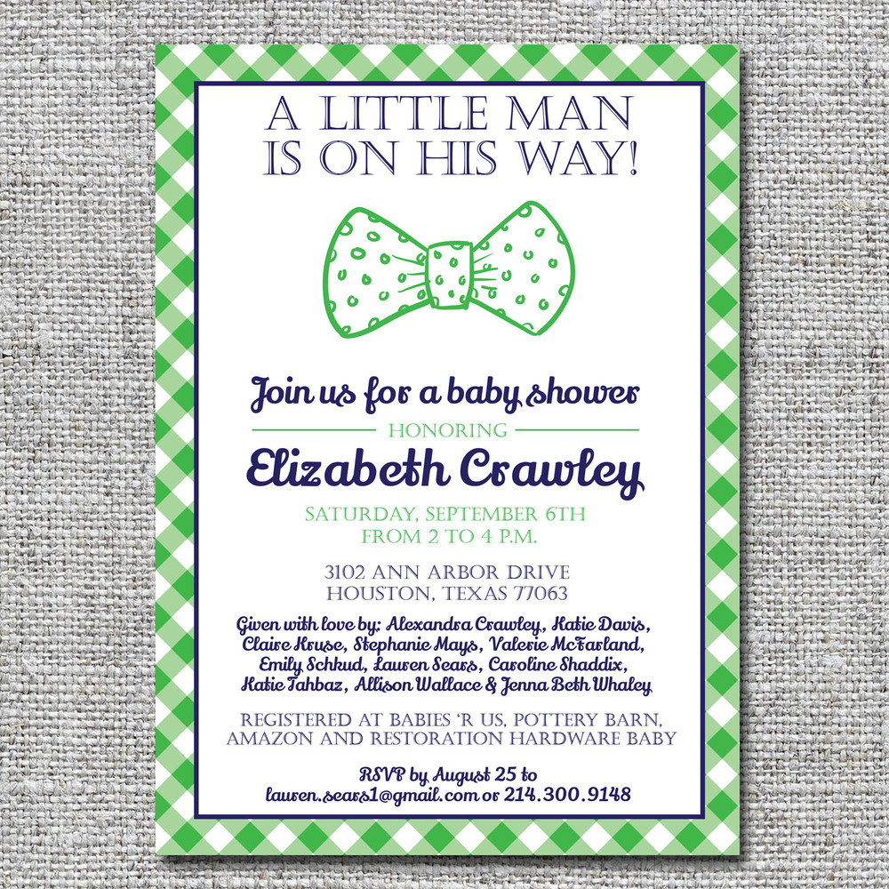 Bow Tie Baby Shower Invitation Gingham