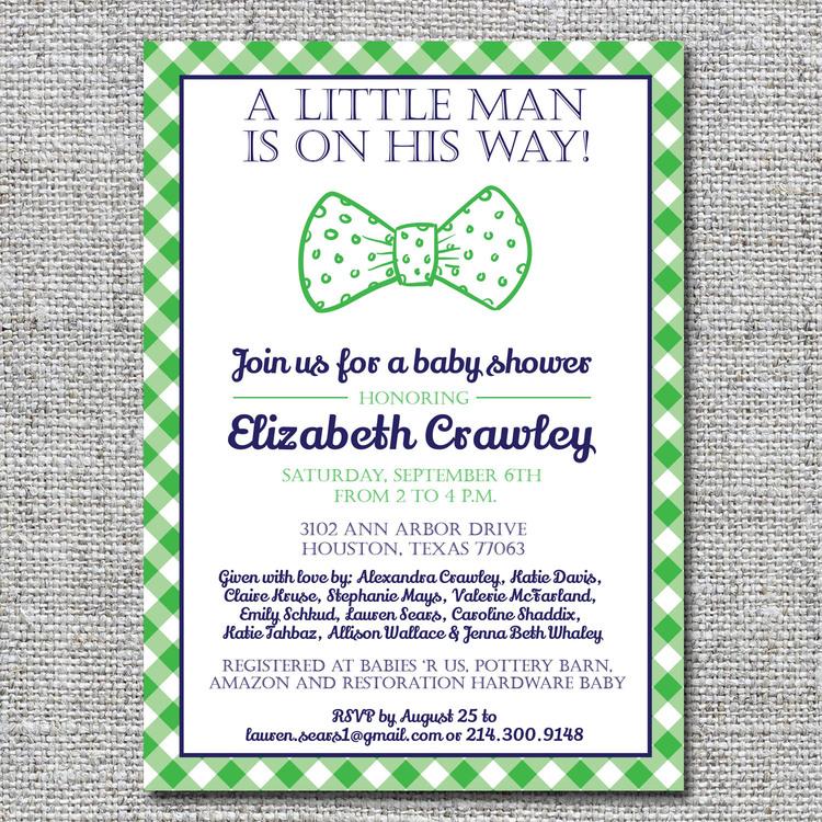 Bow tie and gingham baby shower invitation — nine0nine creative