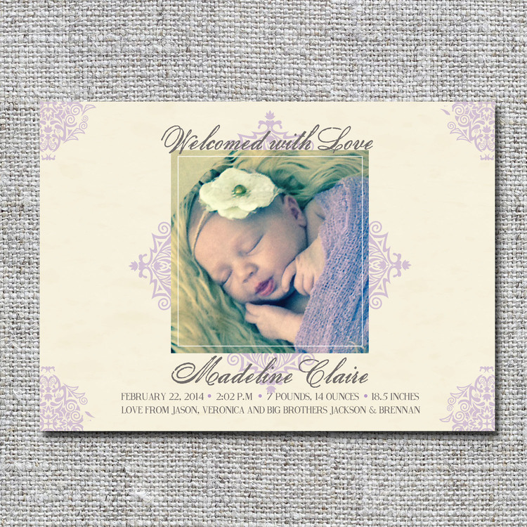 Vintage lavender birth announcement nine0nine creative – Vintage Birth Announcement