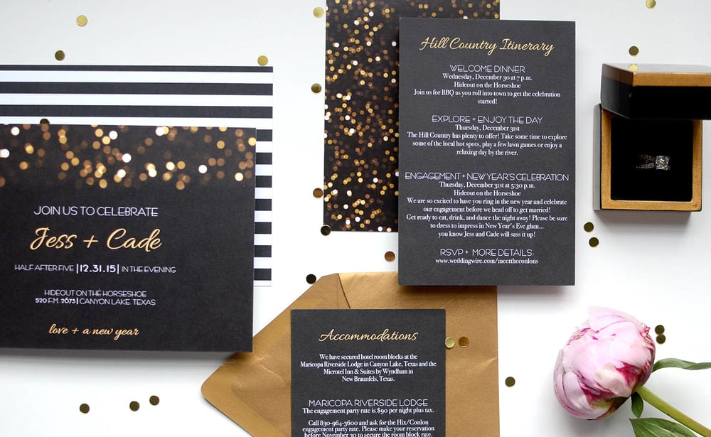 gold confetti wedding invitation