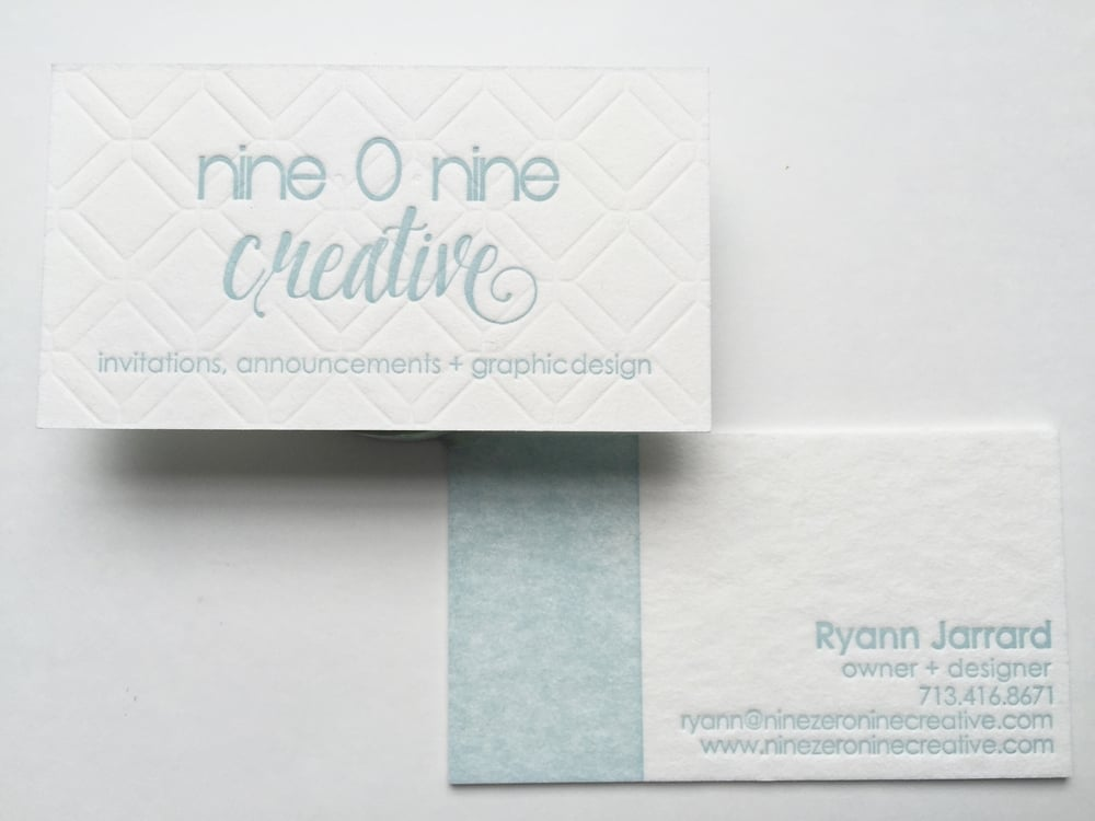 Obviously these are my business cards, which I get repeated compliments on. They were a splurge but so worth it. There is what is called blind embossing on the front underneath my logo to make that geometric pattern.