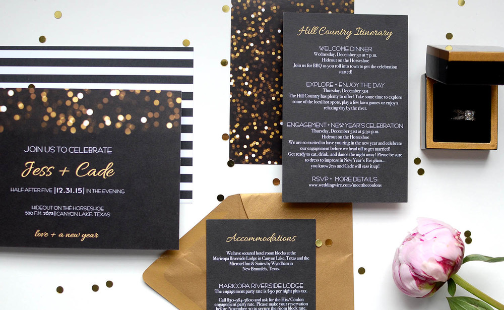 confetti black, white and gold wedding invitation.jpg