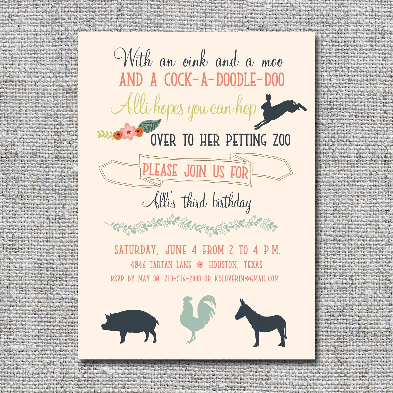 Petting Zoo Birthday Invitation Nine0nine Creative Custom