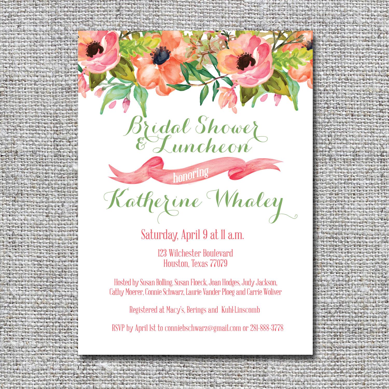 Watercolor floral bridal shower invitation nine0nine creative watercolor floral bridal shower invitation filmwisefo