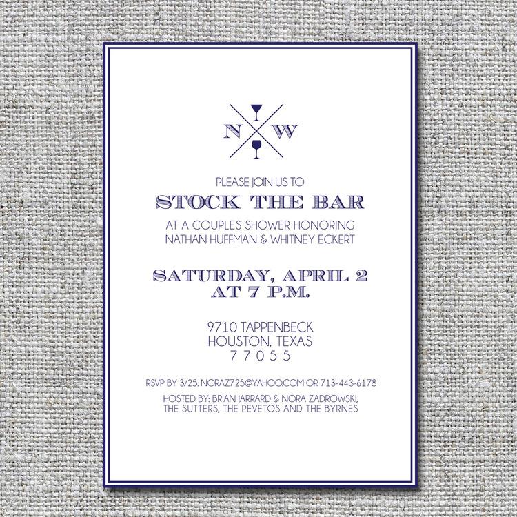 Stock the bar themed couples shower invitation — nine0nine creative