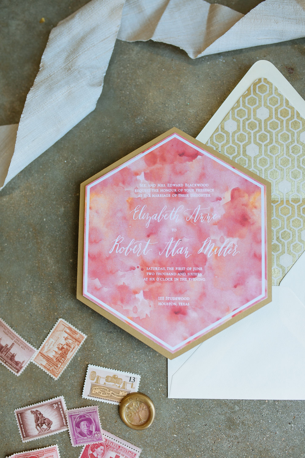 hexagon and pink and orange wedding invitation with gold hexagon envelope liner.jpg