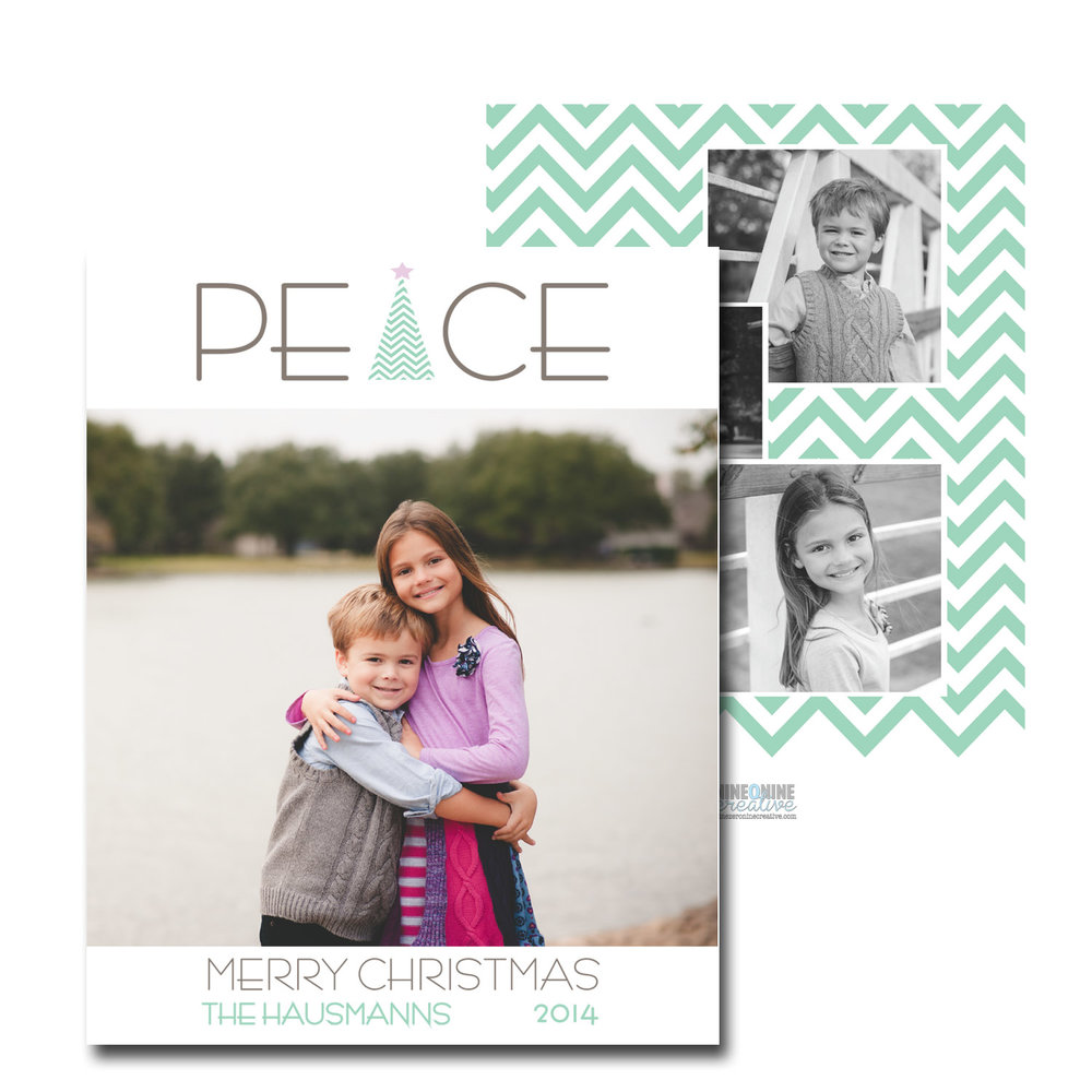 peace with mint chevron christmas card with photos.jpg