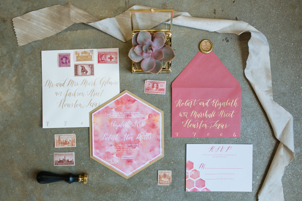 pink and orange with die cut hexagon wedding invitation and gold calligraphy.jpg