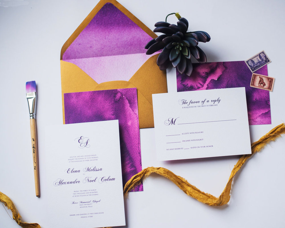 dark purple watercolor wedding invitation suite with gold highlights and custom monogram.jpg