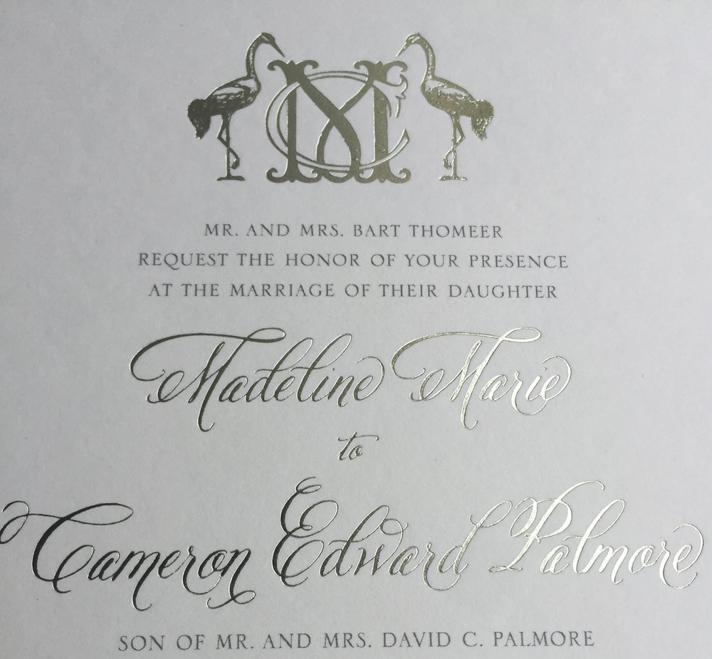 I used champagne foil to complement the gorgeous lettering on this wedding invitation.