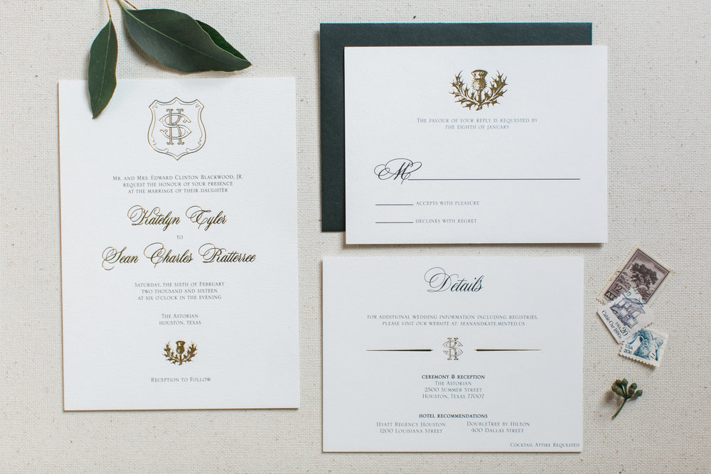 gold foil custom crest wedding invitation suite.jpg