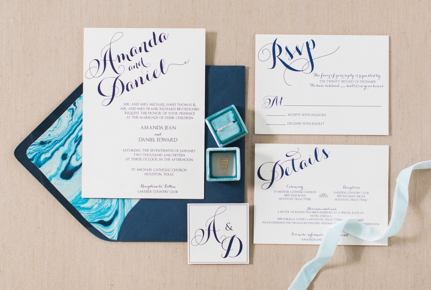 Amanda and Daniel | Houston Wedding Invitation Suite — nine0nine ...