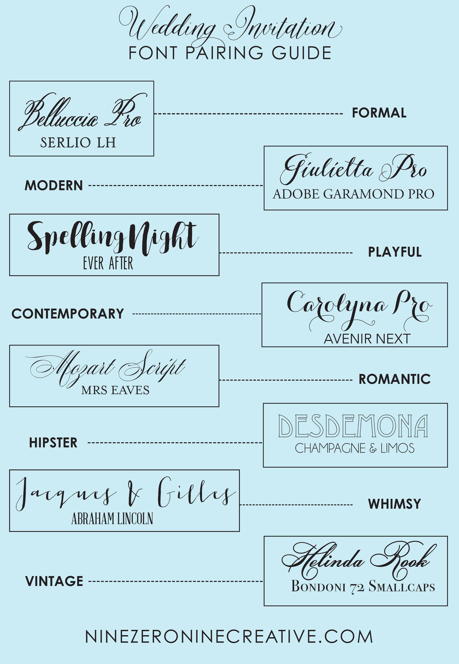 Top 8 Font Pairings for Wedding Invitations — nine0nine creative   custom  invitations