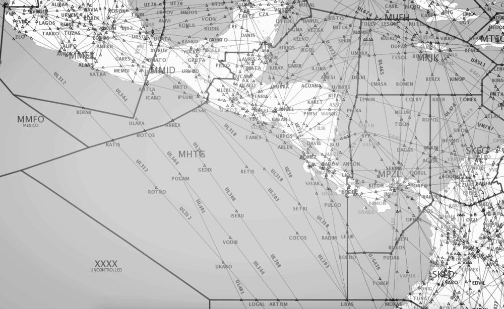 Airspace Map - CENAMER FIR(MHTG)