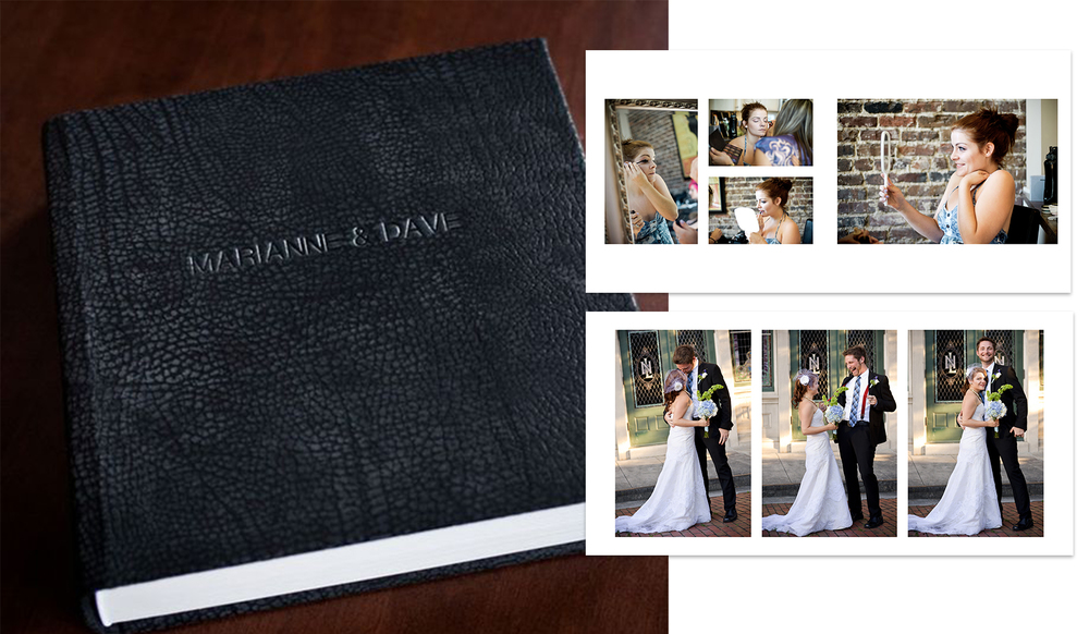 ALBUMS FOR ALL! - Custom Wedding Albums.Expertly Designed & Crafted. Included in EVERY SINGLE wedding photography package, along with those digital files you want (with printing rights), too!