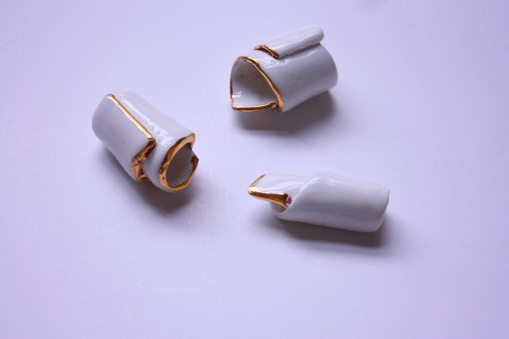 Collares Canolis blanco y oro