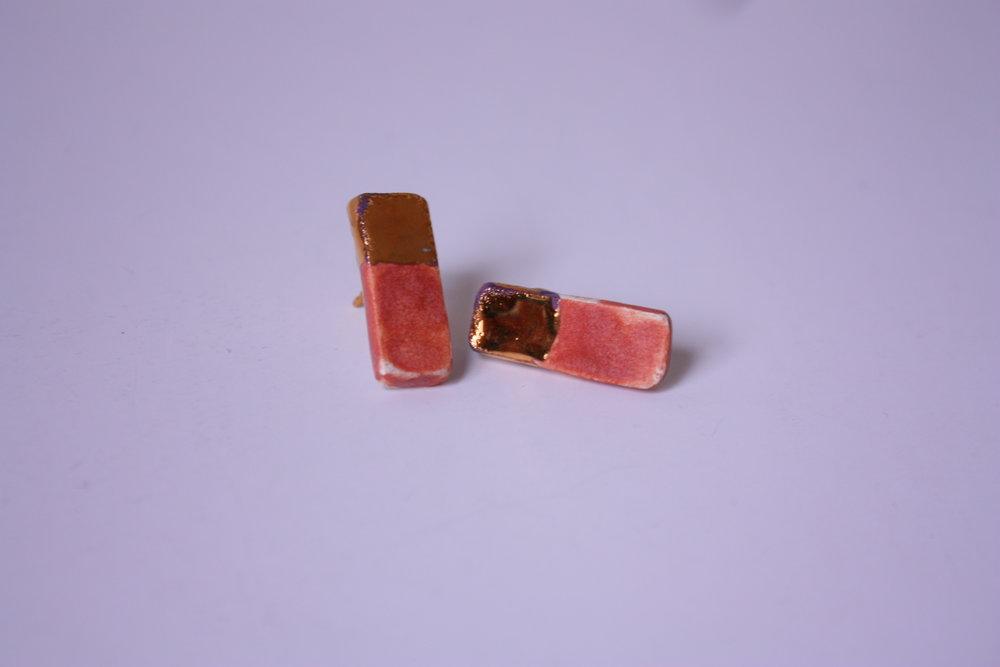 Pendientes rectangulares oro y rosa
