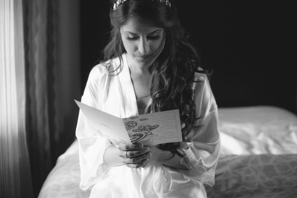 The bride reads the groom's letter