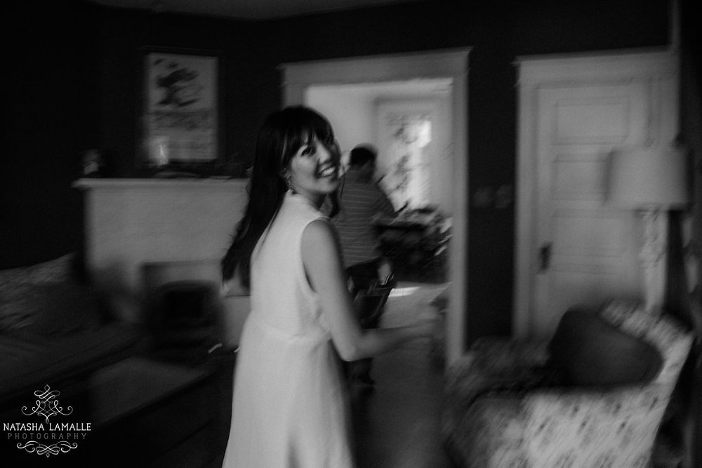 The bride-to-be in motion