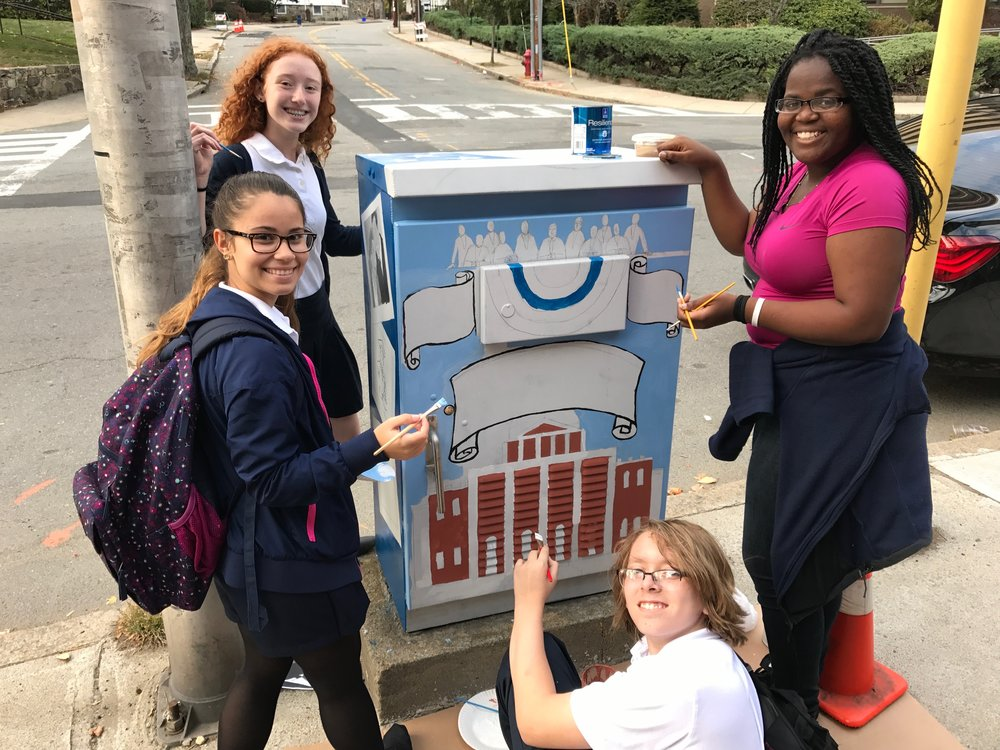 The art club meets after school for painting of the switch-box