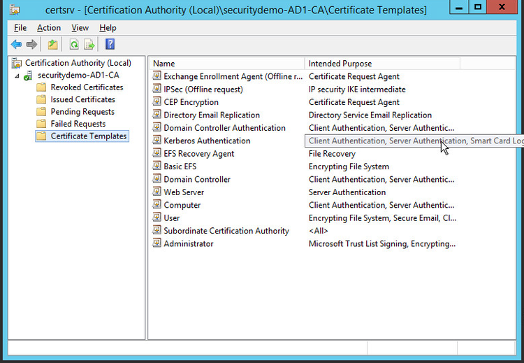 Server 2012 configuration certificate templates networking fun go to your start menu and open certification authority on this mmc highlight the certificate templates folder and right click choose manage yelopaper Choice Image