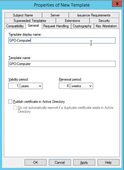 Server 2012 configuration certificate templates networking fun on the general tab choose a good name for this template for me i chose gpo computer since this will be the computer certificate template i will be using yelopaper Choice Image