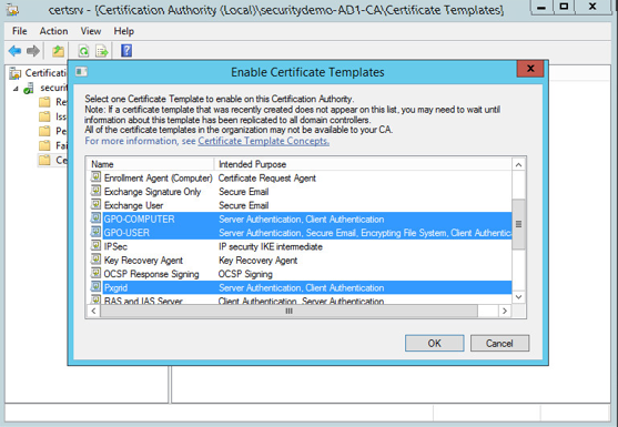 Server 2012 configuration certificate templates networking fun choose newcertificate template to issue and in the pop up highlight the templates you just created and click ok this will publish the new templates to yadclub
