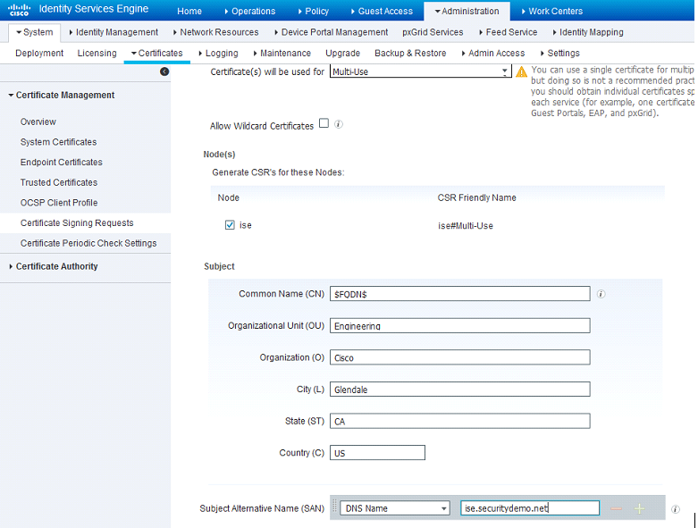 Ise 20 Initial Configuration Adding Certificates To Ise