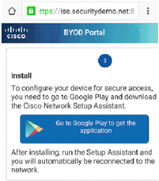 Step 3 - Promp and link to install the Cisco Network Assistant from the Google Marketplace