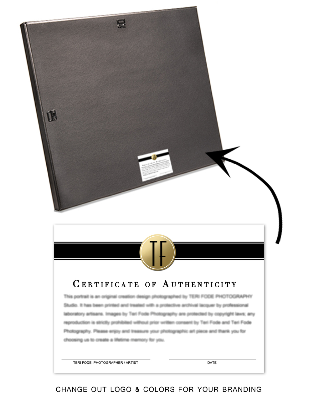 CERTIFICATE OF AUTHENTICITY to promote your art and your professional artistry on the back of your canvas work and portraits as well as to state your copyright. Insert your own logo/colors. Order as a 5x7 sticker from your lab. Printed portraits are for life.