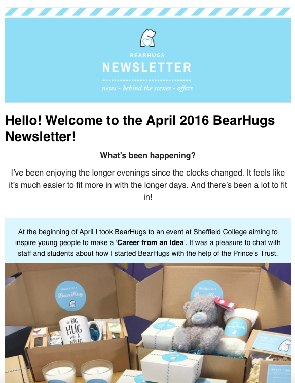 Bearhugs april 2016 newsletter launch