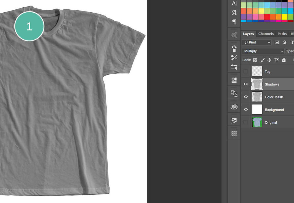 Step 1 on removing the tag for the how to create a t-shirt mockup tutorial.