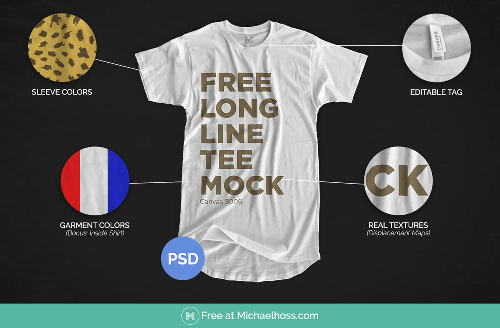Free Longline T-shirt Mockup | Michael Hoss Design | Graphic design Nashville, TN.