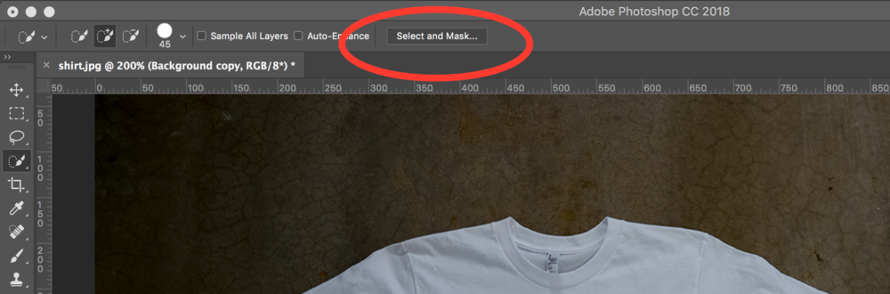 - 3. Drag out a selection across the t-shirt.4. Click Select and Mask option towards the top