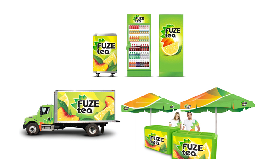 Brand retail applications for Fuze Tea, international retail marketing. Fuze is a Coca-Cola brand beverage.