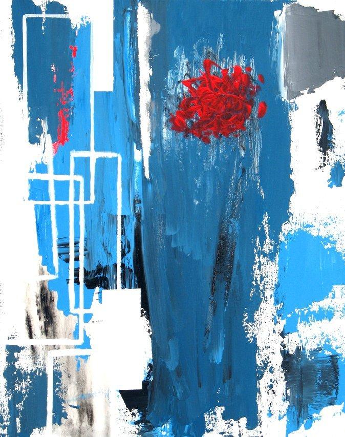 Rose - acrylique sur toile - 12/24 pouces - 2011