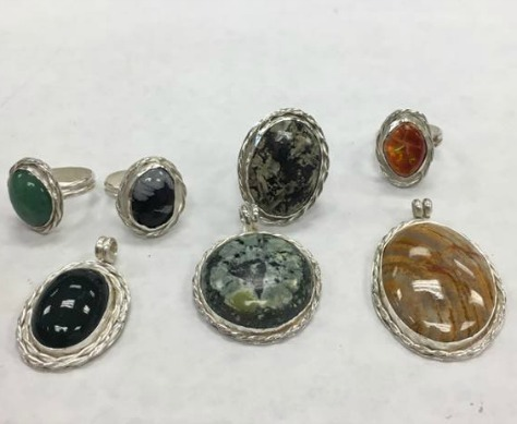 Some of our members made these beautiful pendants and rings in a Silversmith Class taught by Mr. Duffy.
