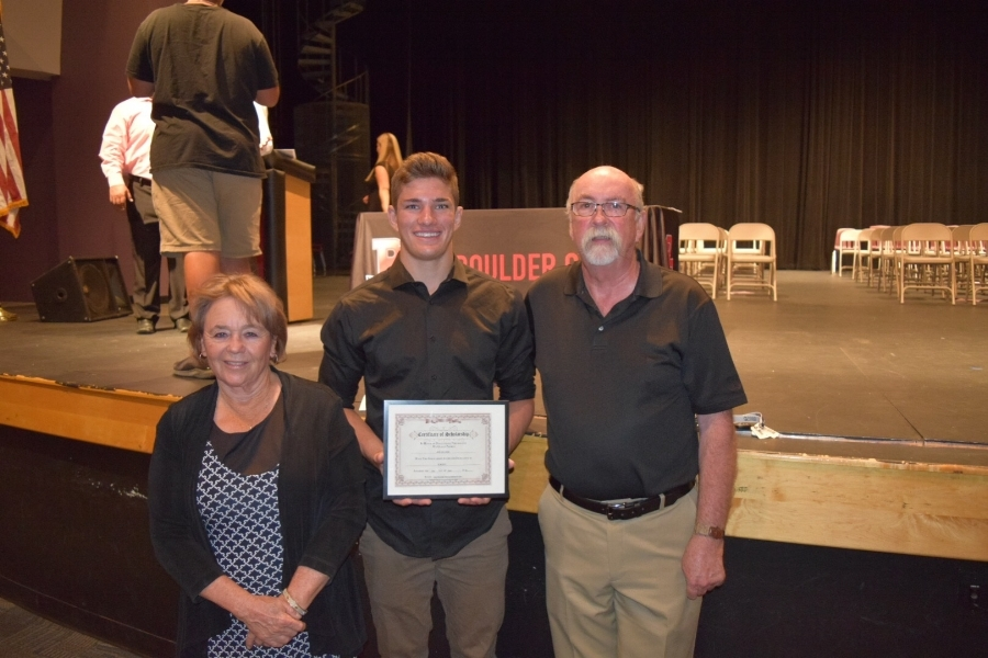 DMRMC proudly awarded Jack Kollings of Boulder Creek High School of Anthem, AZ a $1,000.00 scholarship. Jack plans on a pre-med major at ASU in the Fall. Congratulations Jack!  L-R Cynthia Buckner, Jack Kollings, and DMRMC President Ed Winbourne