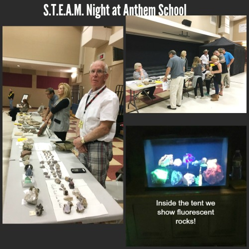 DMRMC Members Attend S.T.E.A.M Night at Anthem School - STEAM (Science, Technology, Arts, Math and Music) is an annual event held in January at Anthem School. DMRMC members educate the students and their families on various rocks and minerals. A black-out tent is also used to show Fluorescents!