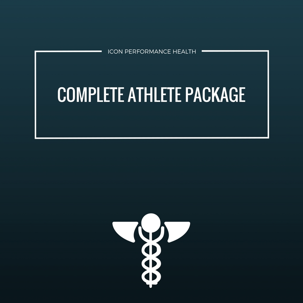 complete athlete consult:  ROUTINE HISTORY AND EXAMINATION. GENOMIC TESTING AND CARB CHOICE PROFILING PLUS FULL ONLINE REPOST DETAILING PERSONALISED RESULTS.     COMPLETE ATHLETE PACKAGE : 12 WEEK GENOMIC AND CARB PROFILING TESTING. MONTHLY FOLLOW UPS  plus supplement, nutrition and training protocol recommendations SPECIFIC TO EACH ATHLETE.