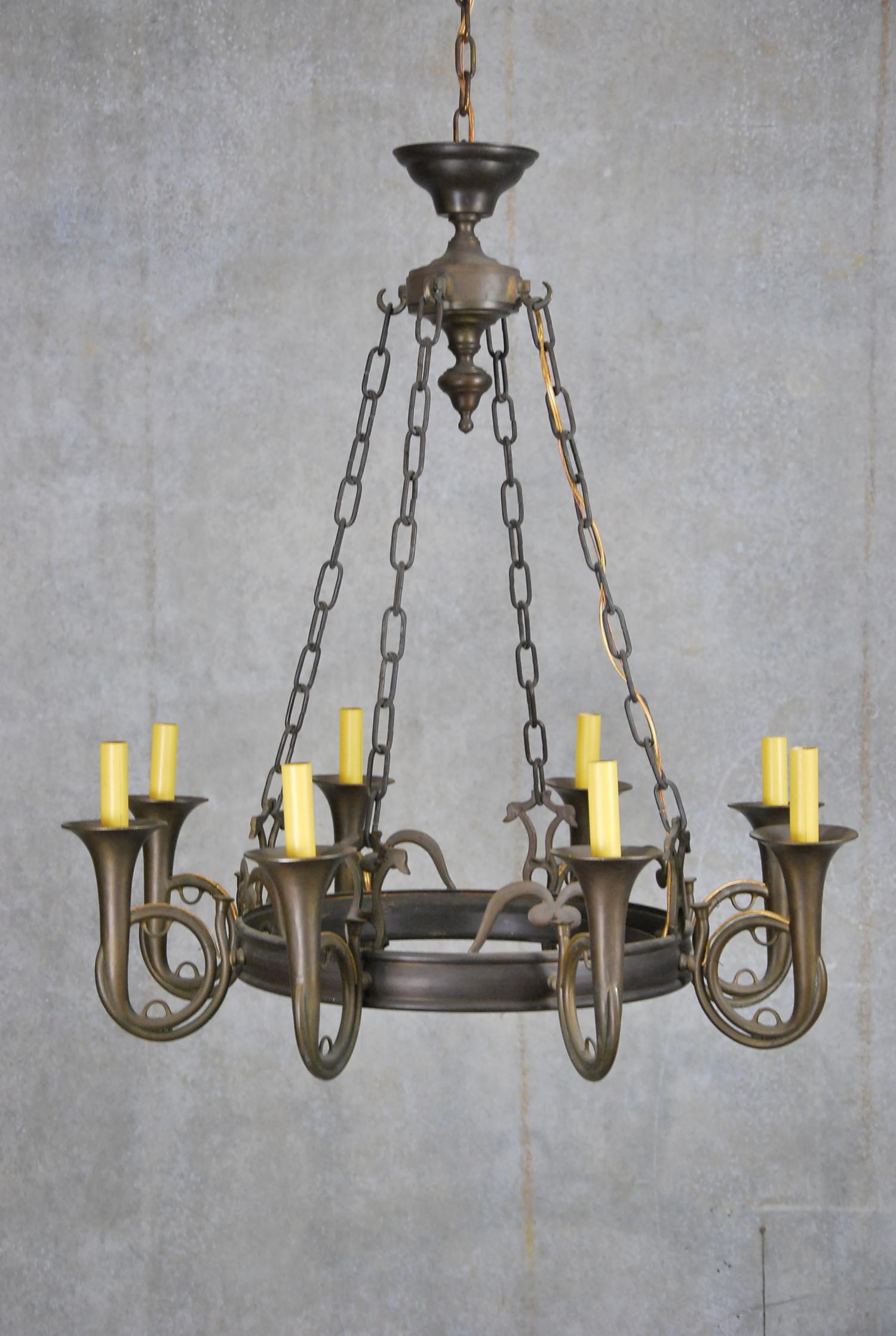 Scott landon antiques interiors 1920 rare brass french horn music 1920 rare brass french horn music chandelier aloadofball Choice Image
