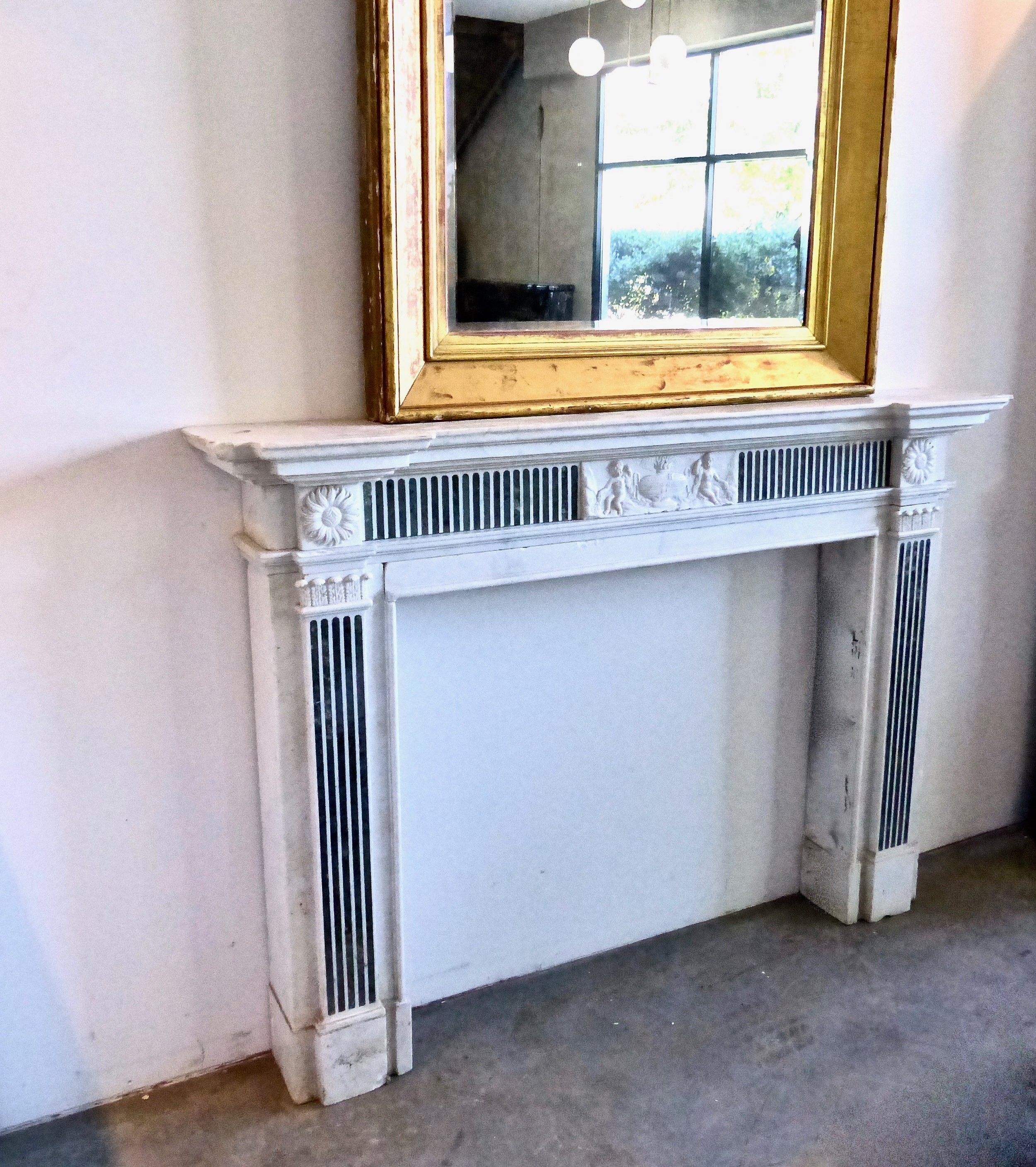 Scott Landon Antiques Interiors 19th Century English Statuary And Inlaid Princess Verde Marble Fireplace In The Manner Of George Iii