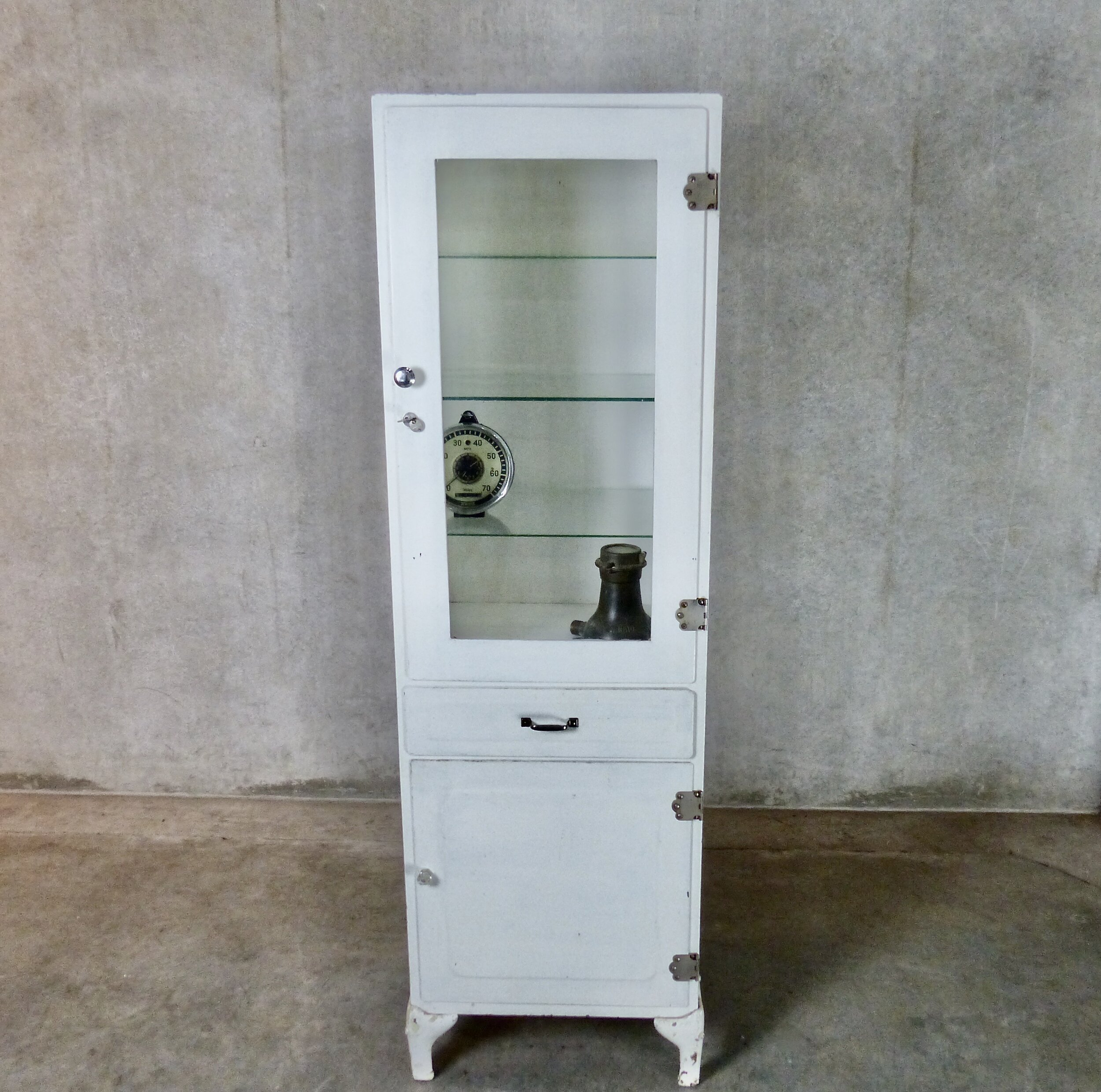 Scott Landon Antiques Interiors Circa 1930 Freestanding Metal Medical Cabinet