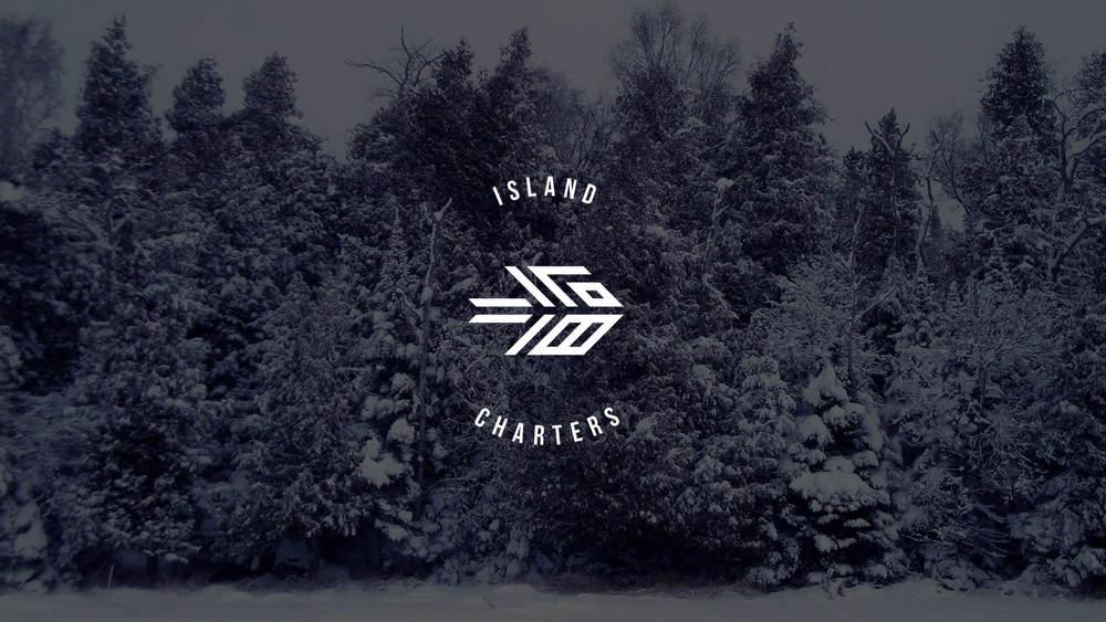 White logo on image
