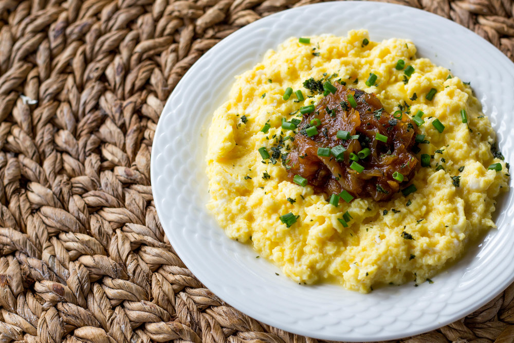 """""""Perfect 10"""" Scrambled Eggs + Caramelized Onions + Cabot ..."""