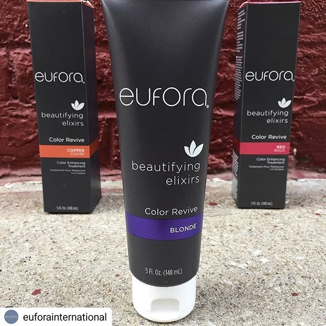 #Repost @euforainternational • • • • • Feeling dull? Keep your color fresh between visits with Color Revive! A color-depositing and moisturizing treatment made to enhance those platinum, red, brunette, or copper shades without the high pH of many other depositing shampoos and conditioners. Formulated with sage and thyme to keep your scalp just as happy as your hair. Follow up with your favorite Eufora conditioner to seal in all the bright, shiny goodness! ( #📷 @beccadyerhair ) . . . . . #euforaeducation #euforastrong #naturalbeauty #crueltyfreebeauty #blondehair #redhair #copperhair #eufora #euforastrong #euforahaircare #euforastyle #euforapro #hairinspo #natureinspired #naturalattraction #euforacolorrevive #longlivecolor